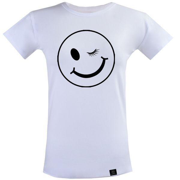 تی شرت آستین کوتاه زنانه 27 مدل چشمک کد T23 رنگ سفید