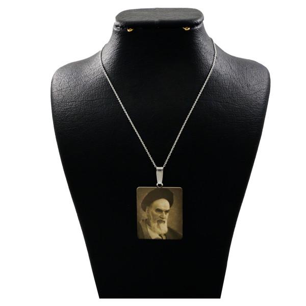 گردنبند نقره زنانه دلی جم طرح تصویر امام خمینی(ره) کد D 133