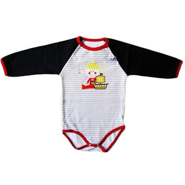 بادی آستین بلند نوزادی تاپ لاین طرح دزد دریایی کد 011sd