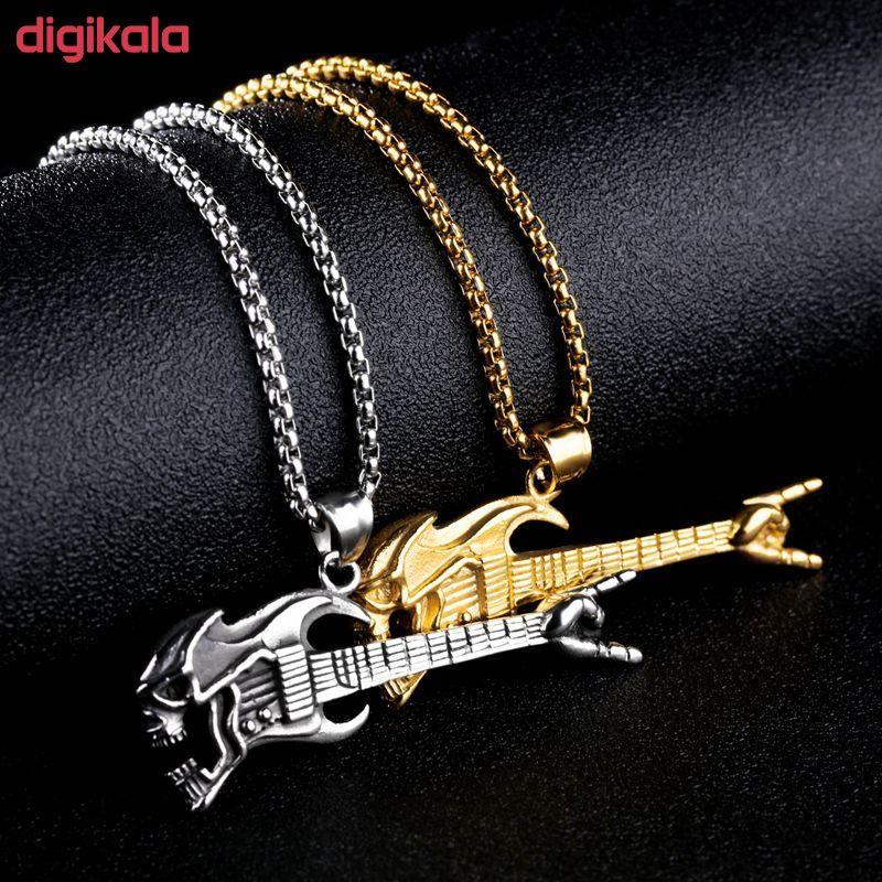 گردنبند مردانه طرح گیتار راک مدل 4344 main 1 1