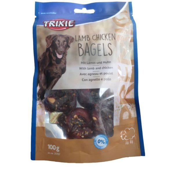 غذای تشویقی سگ تریکسی مدل LAMB CHICKEN BAGELS وزن 100گرم