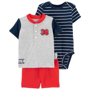 ست 3 تکه نوزادی پسرانه کارترز طرح Baseball کد M306
