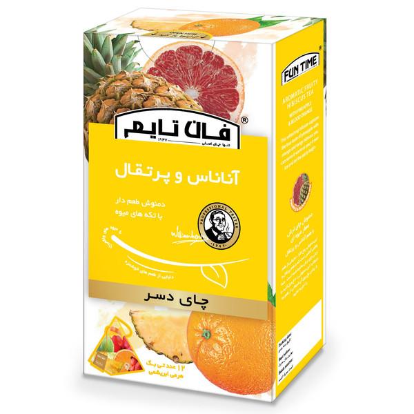 دمنوش دسر طعم دار با تکه های میوه آناناس و پرتقال فان تایم بسته 12 عددی