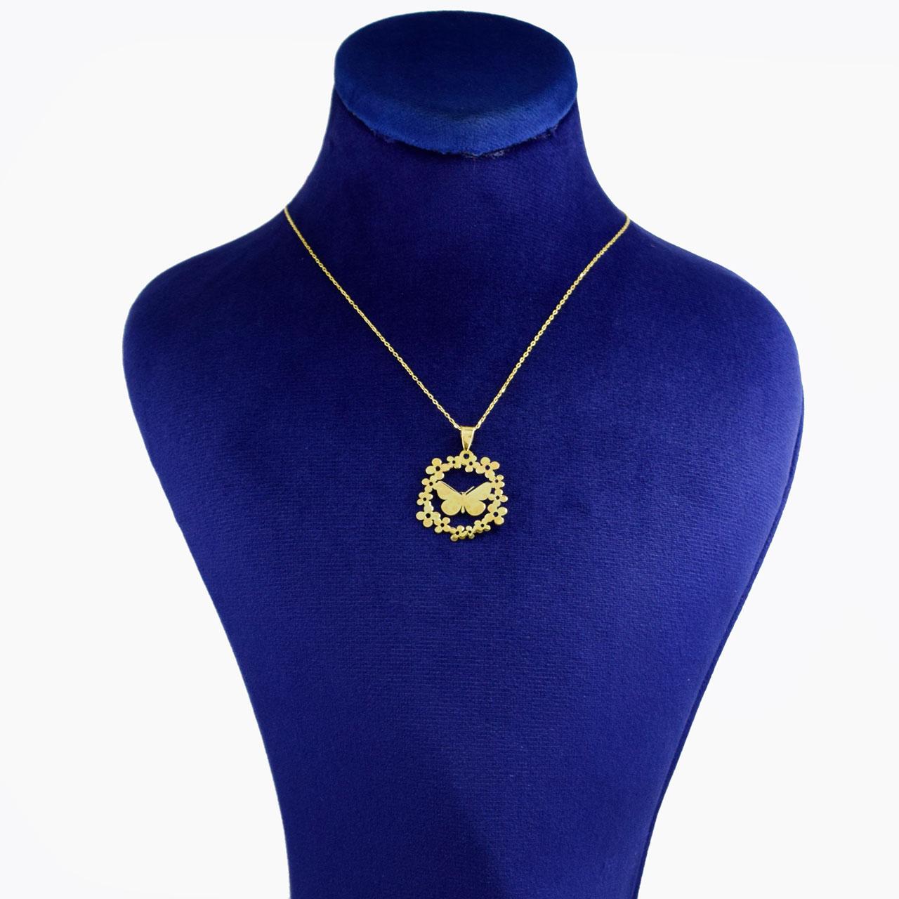 گردنبند طلا 18 عیار زنانه کانیار گالری طرح پروانه کد 6924