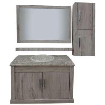 ست کابینت و روشویی البرز کد A111 بهمراه آینه و باکس
