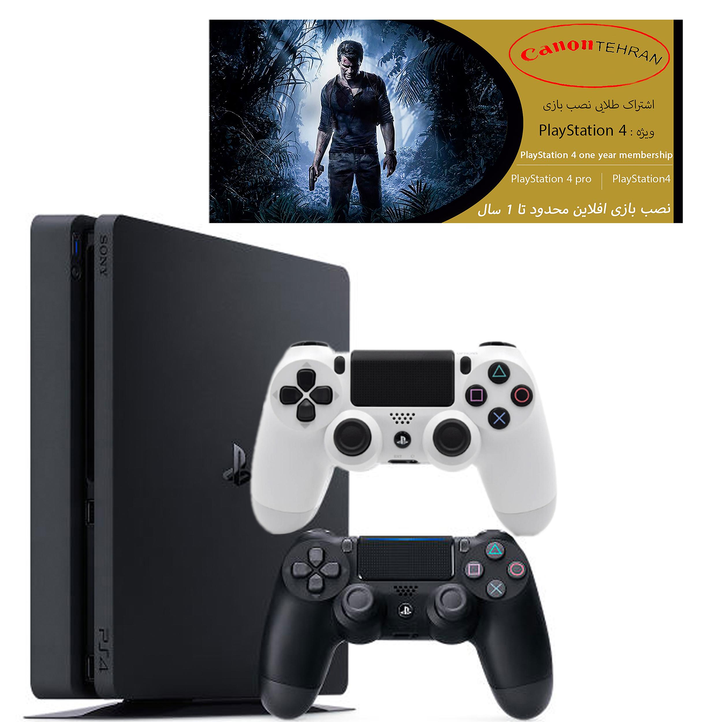 کنسول بازی سونی مدل Playstation 4 Slim ریجن 1 کد CUH-2215B ظرفیت 1 ترابایت به همراه 20 بازی و دسته اضافه