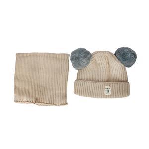 ست کلاه و شال گردن بافتنی نوزادی کد 554 رنگ کرم