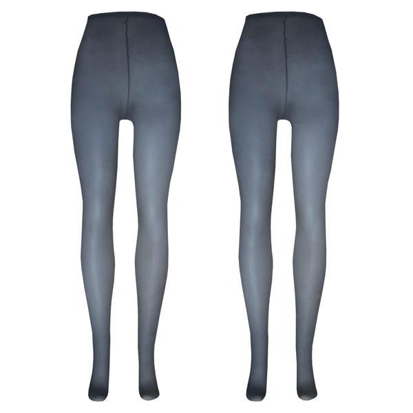 جوراب شلواری زنانه ادوو کد 910303 رنگ خاکستری بسته 2 عددی
