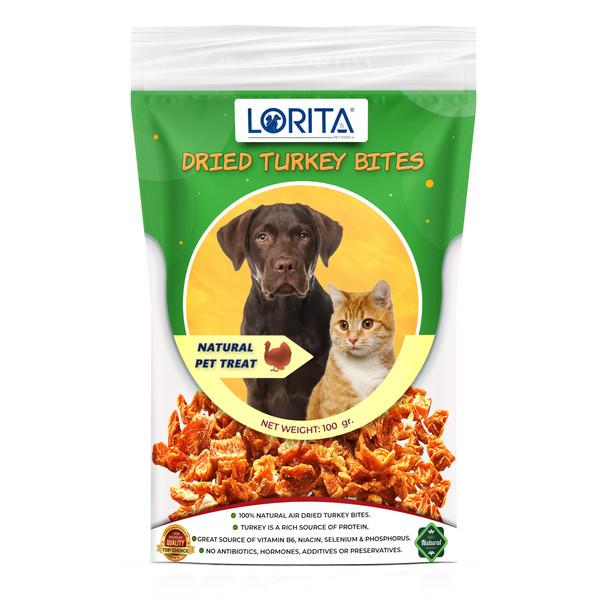 غذای تشویقی سگ و گربه لوریتا مدل DRIED TURKEY BITES وزن 100 گرم