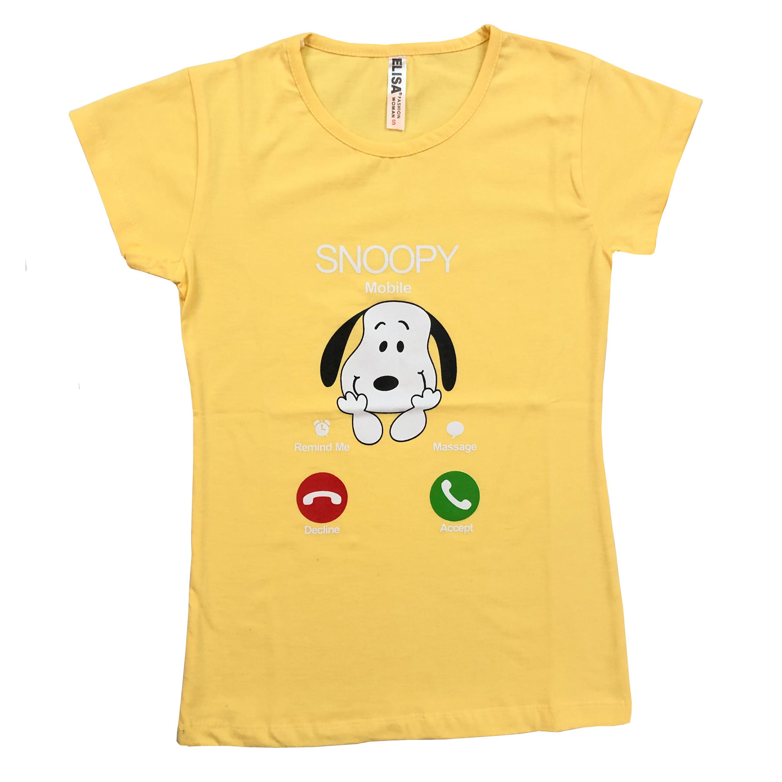 تی شرت آستین کوتاه زنانه الیسا مدل اسنوپی