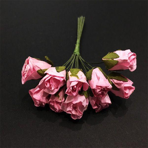 گل مصنوعی مدل غنچه رز کد 132 بسته 10 عددی