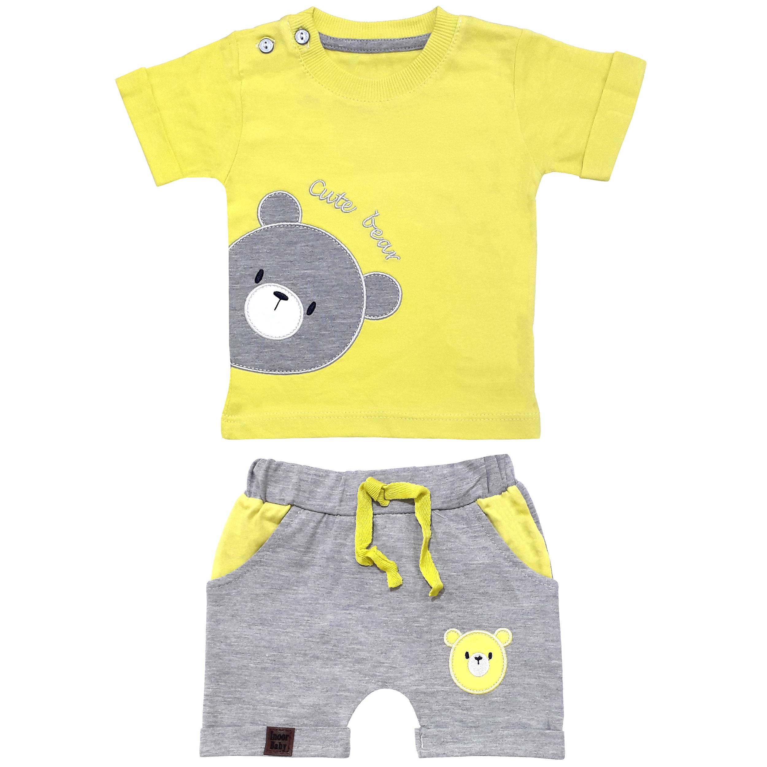 ست تی شرت و شلوارک نوزادی مدل خرس کد 3302