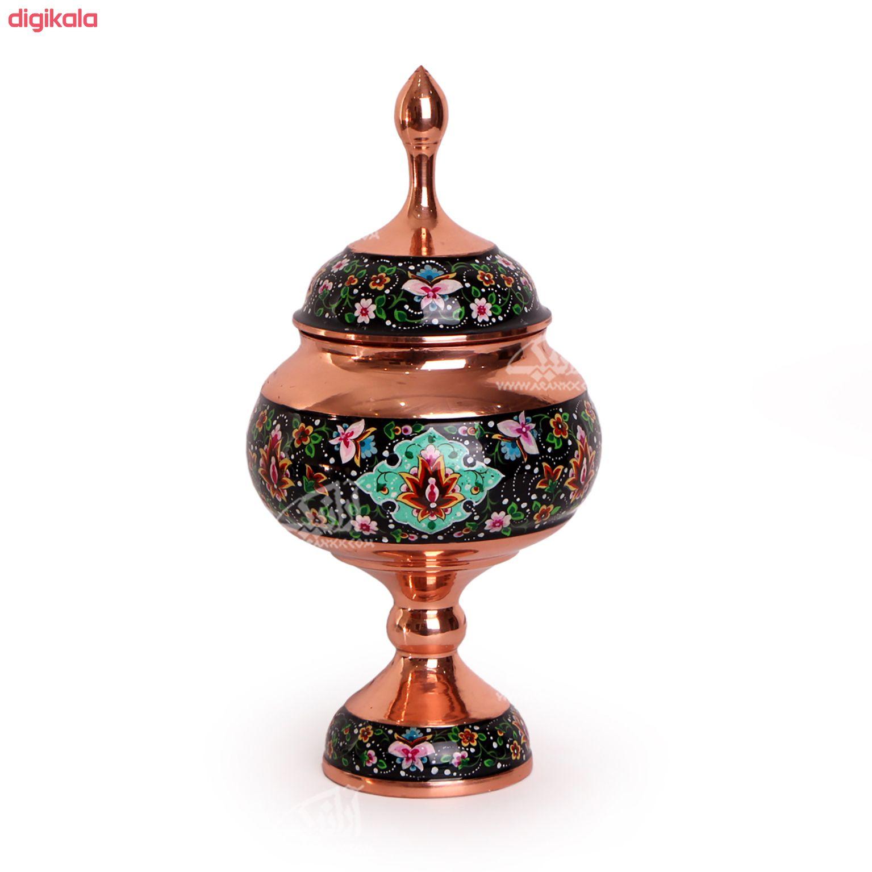 شکلات خوری پایه دار مس و پرداز رنگ مشکی  طرح شاه عباسی  مدل 1001200044 main 1 2
