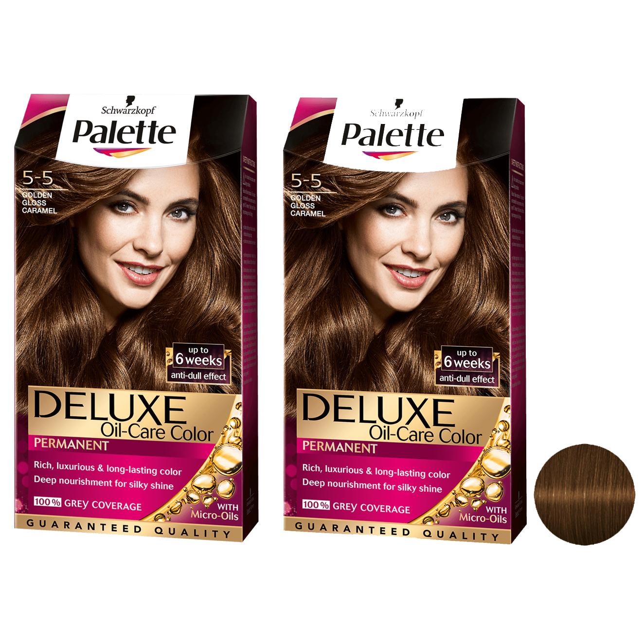 کیت رنگ مو پلت سری DELUXE شماره 5-5 حجم 50 میلی لیتر رنگ بلوند کاراملی مجموعه 2 عددی