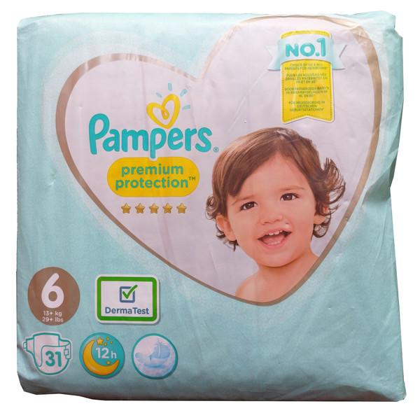 پوشک کودک پمپرز مدل Premium protection چسبی سایز 6 بسته 31 عددی