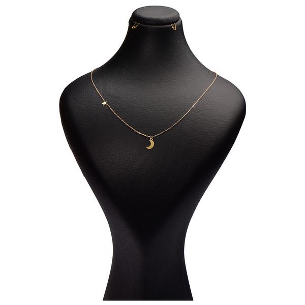 گردنبند طلا 18 عیار زنانه کرابو طرح ماه و ستاره مدل Kr7006