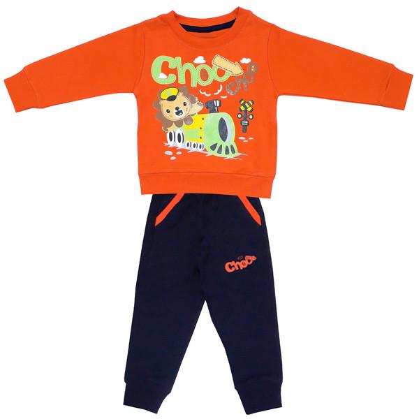 ست سویشرت و شلوار پسرانه طرح شیر و قطار کد 3120 رنگ نارنجی