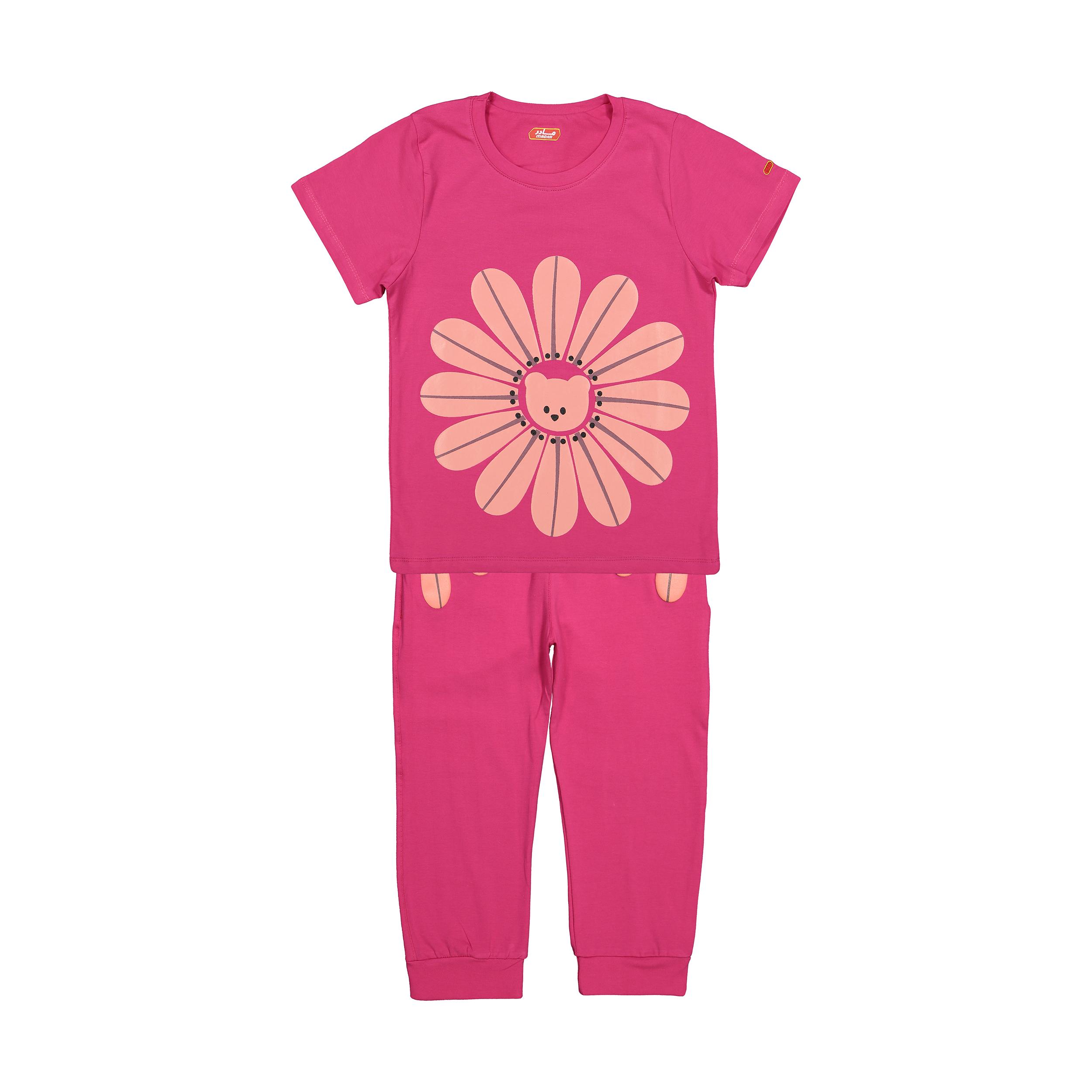 ست تی شرت و شلوار دخترانه مادر مدل 2041101-66