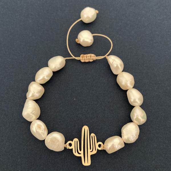 دستبند طلا 18 عیار زنانه الماسین آذر طرح کاکتوس کد Cactus01