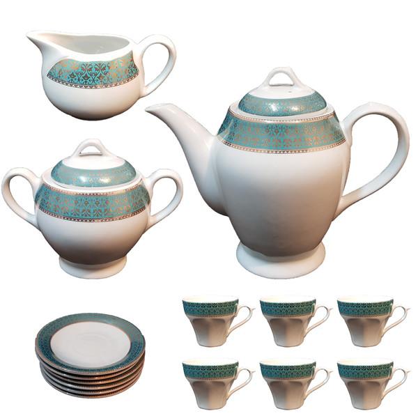 سرویس چای خوری 17 پارچه چینی مقصود کد san00