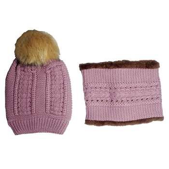 ست کلاه و شال گردن بافتنی دخترانه مدل k2