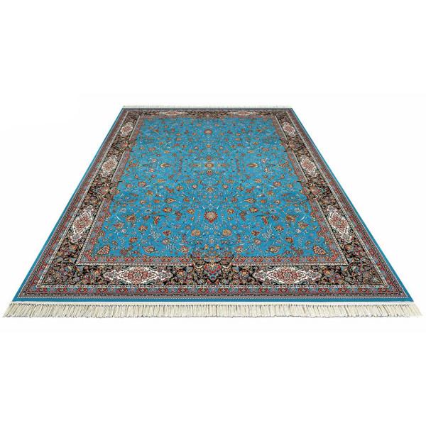 فرش ماشینی داریوش طرح افشان زمینه آبی فیروزه ای