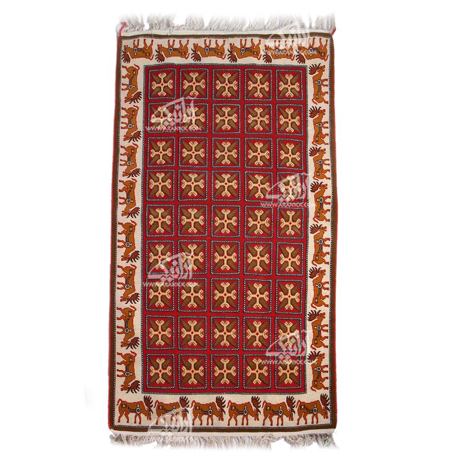 قالیچه دستباف  زیرانداز طرح گوزن باف سیرجان مدل 1414300003