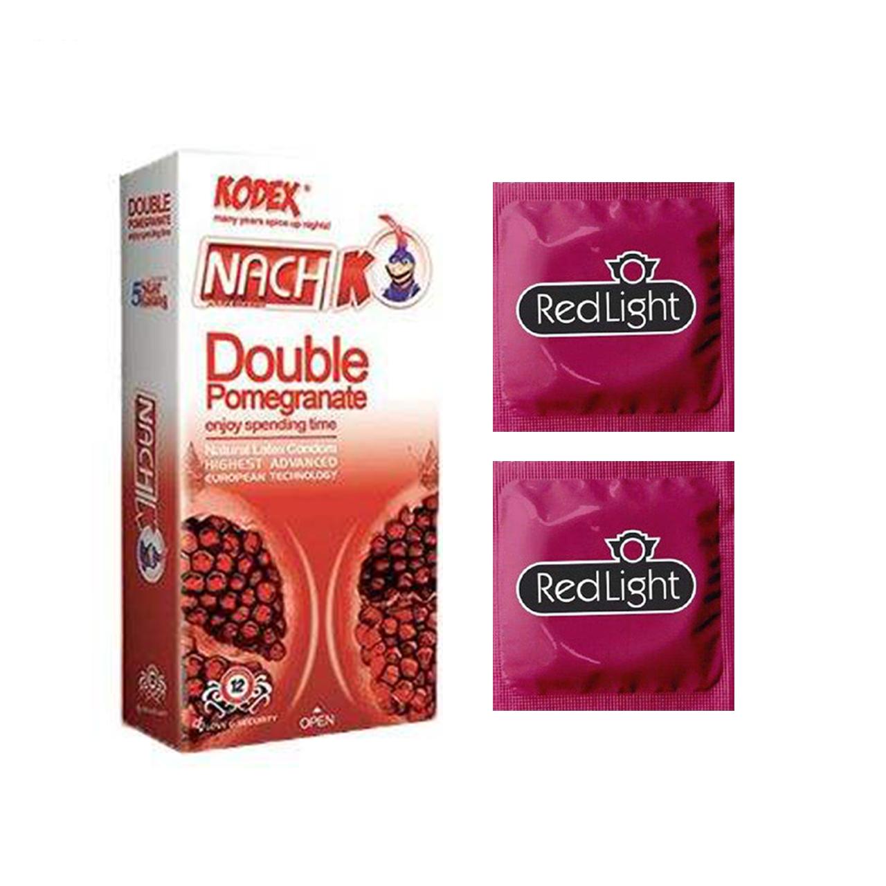خرید                      کاندوم ناچ کدکس مدل DOUBLE POMOGRANATE بسته 12 عددی به همراه کاندوم ردلایت مدل فویل مجموعه 2 عددی
