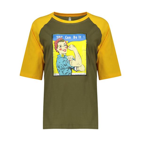 تی شرت آستین کوتاه زنانه پپامدل Queen Bee رنگ سبز زیتونی