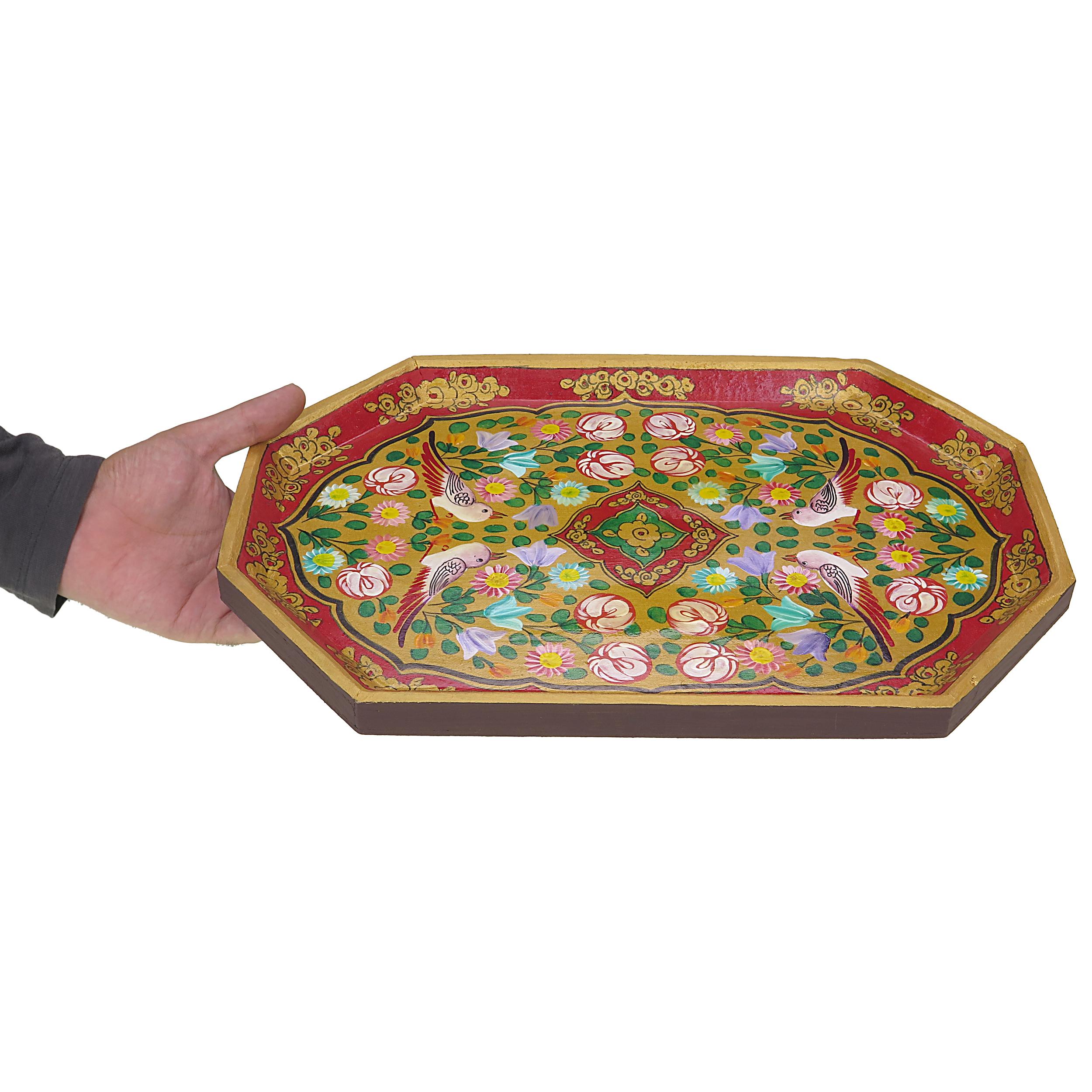 خرید                        سینی چوبی طرح گل و مرغ مدل srmd7