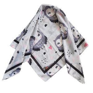 روسری دخترانه ترمه مدل جغد کد san28-4