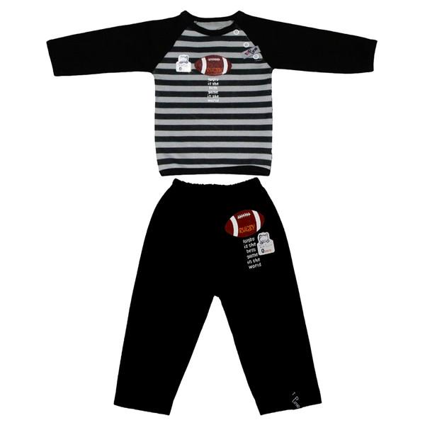 ست تی شرت و شلوار نوزادی تاپ لاین مدل راگبی کد 006SR