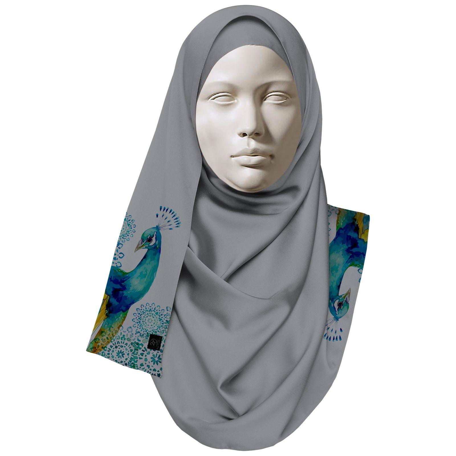 روسری زنانه 27 طرح طاووس کد H04 -  - 3