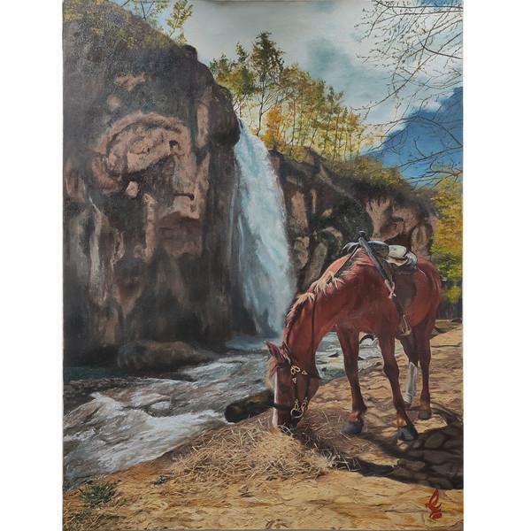 تابلو نقاشی رنگ روغن مدل اسب کد 05