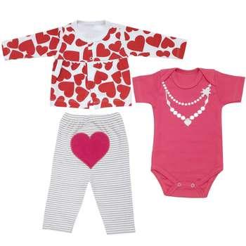 ست 3 تکه لباس نوزادی دخترانه طرح قلب کد 3085