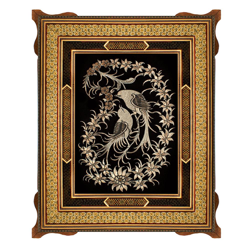 تابلو قلمزنی طرح گل و مرغ کد 3040-5