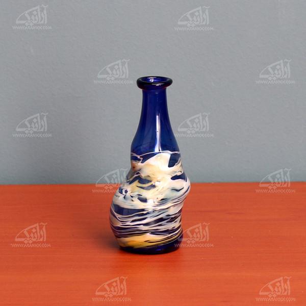 گلدان مینیاتوری شیشه گری با حرارت مستقیم  آبی طرح دریا مدل 1015900032