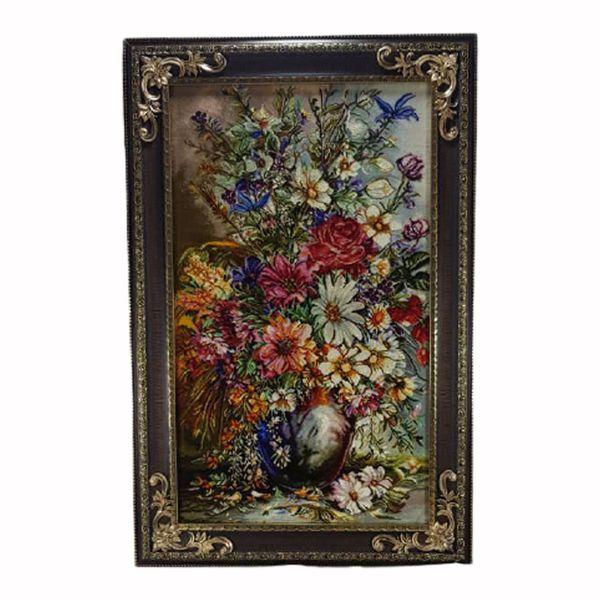 تابلو فرش ماشینی طرح گل و گلدان کد 022
