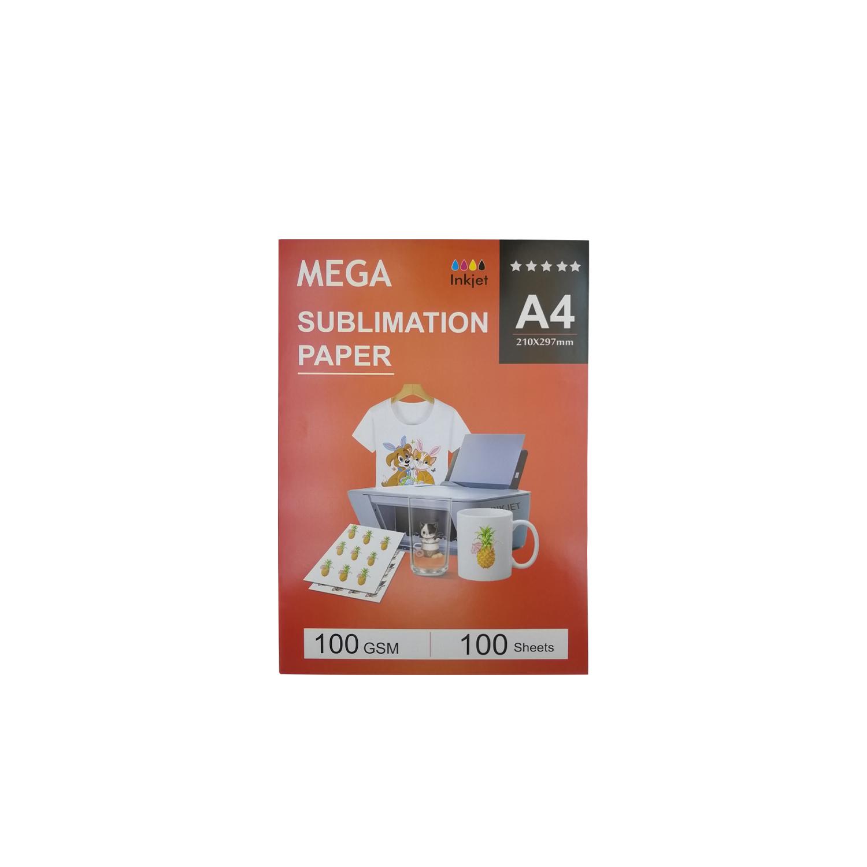کاغذ سابلیمیشن مگا مدل MG100 سایز A4 بسته 100 عددی