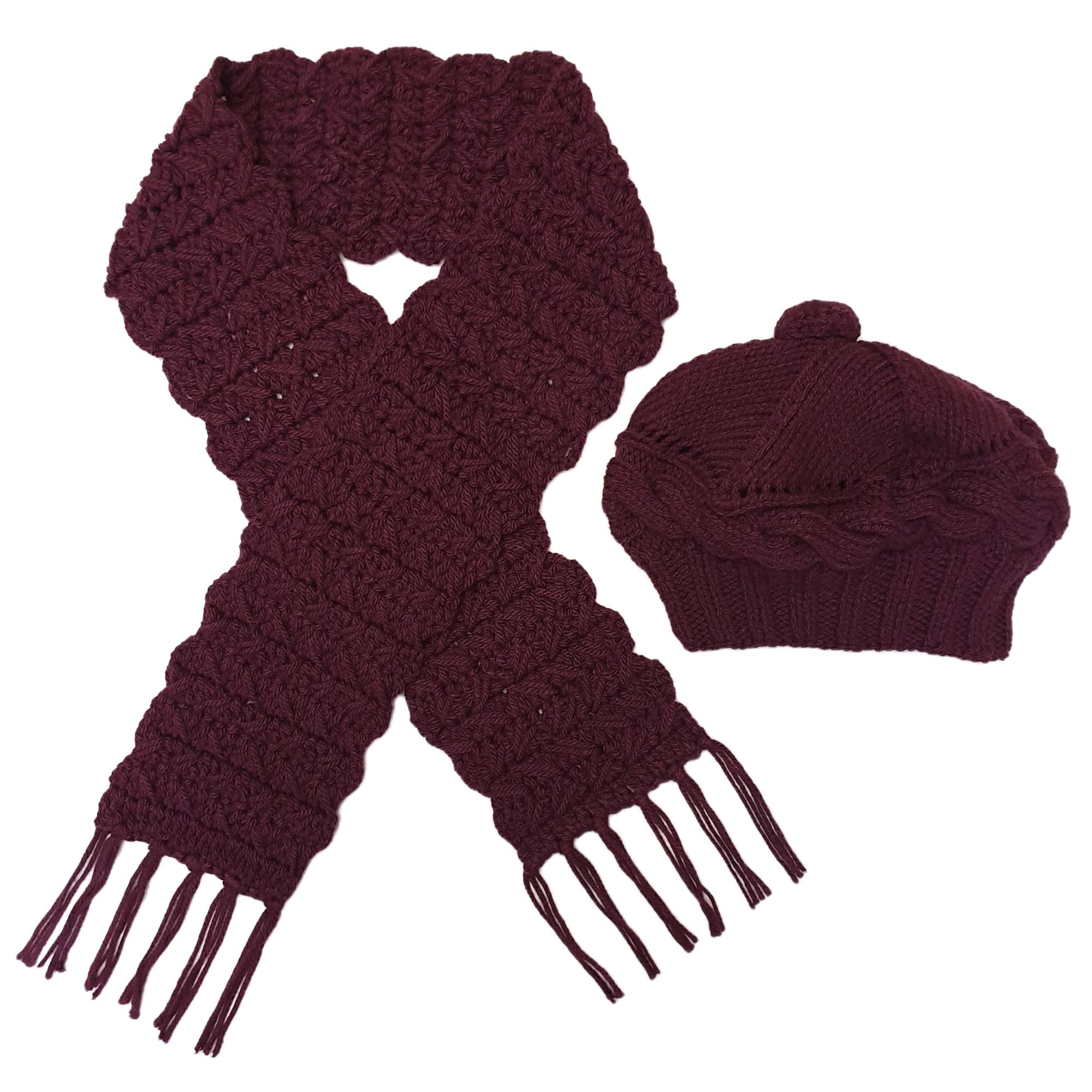 ست كلاه و شال گردن بافتنی زنانه كد SHB3-BJ