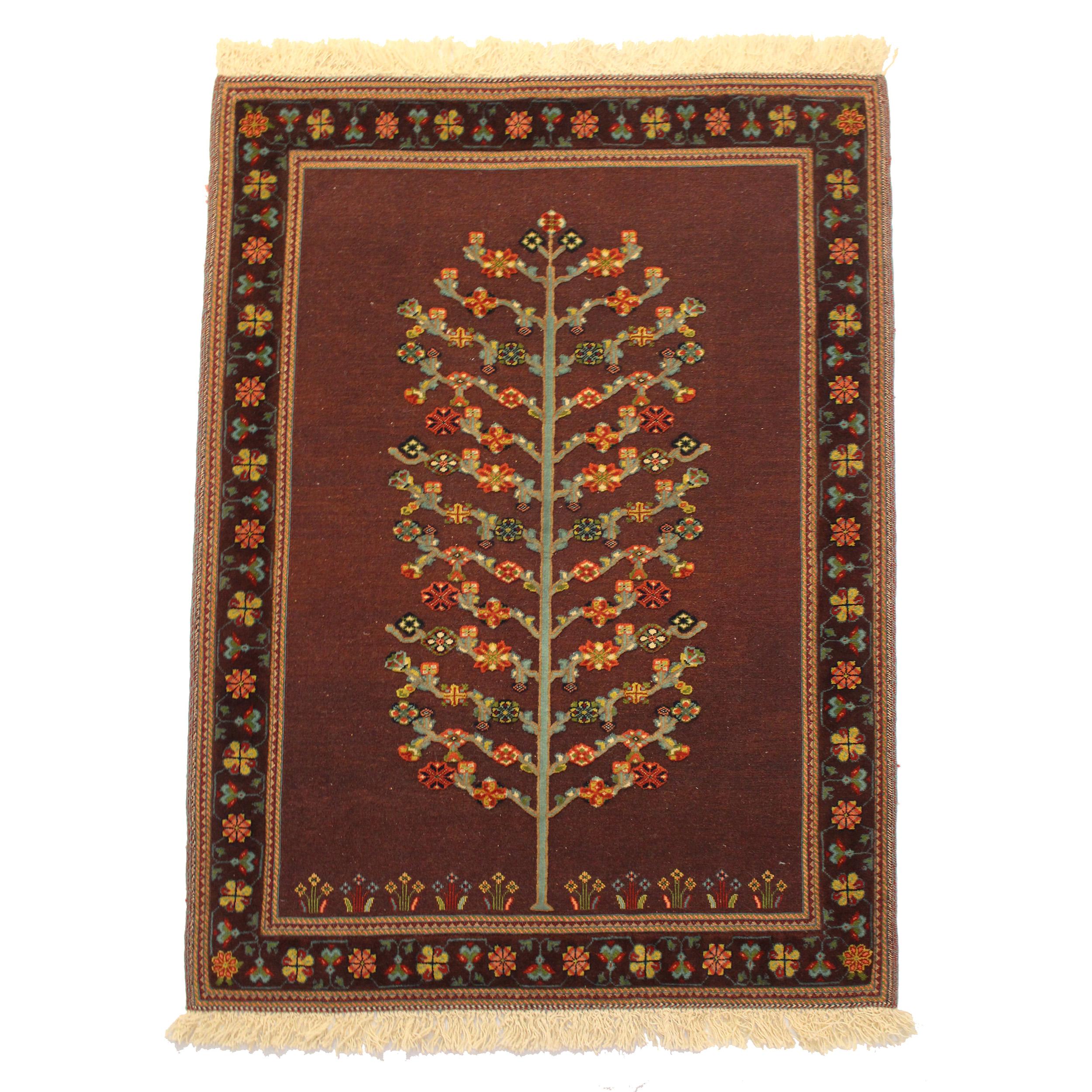 گلیم فرش دستباف دو متری طرح درخت مدلشیرکی پیچ کد 201