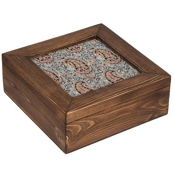 جعبه چوبی گالری زیما طرح ترمه مربعی سایز بزرگ