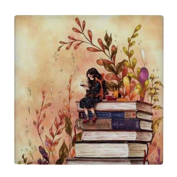 کاشی طرح دختر کتابخوان کد wk1138