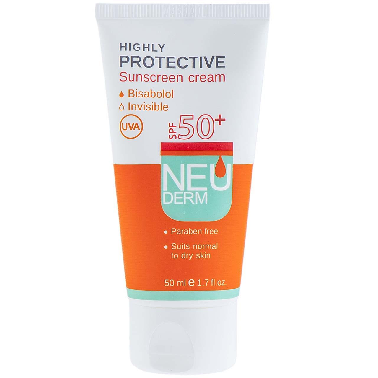 قیمت کرم ضد آفتاب نئودرم مدل Highly Protective Invisible SPF50 حجم 50 میلی لیتر