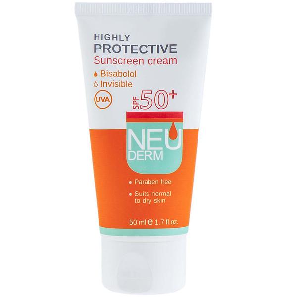 کرم ضد آفتاب نئودرم مدل Highly Protective Invisible SPF50 حجم 50 میلی لیتر
