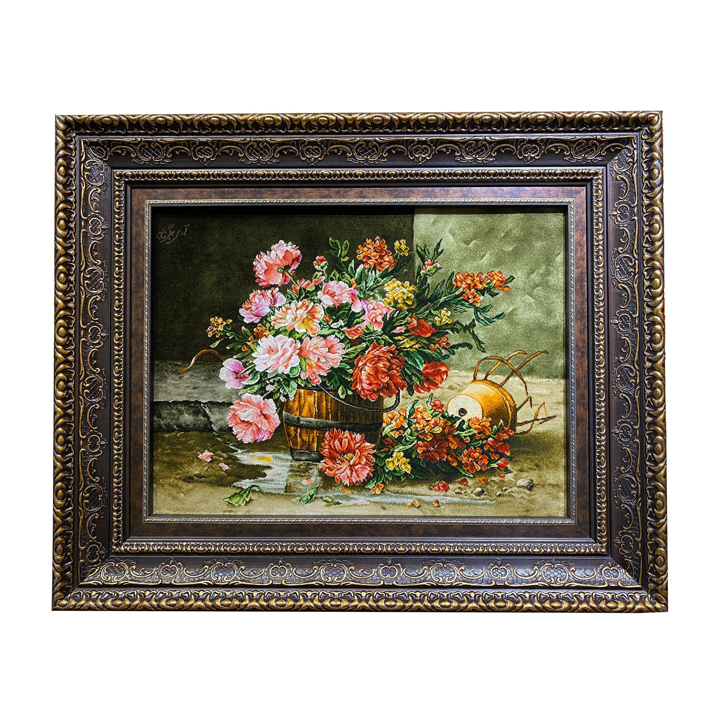 تابلو فرش دستبافت طرح گل و گلدان چوبی کد ۳۱۵۷۷۱۸