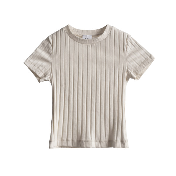 تی شرت آستین کوتاه زنانه کوی مدل 90 رنگ شیری