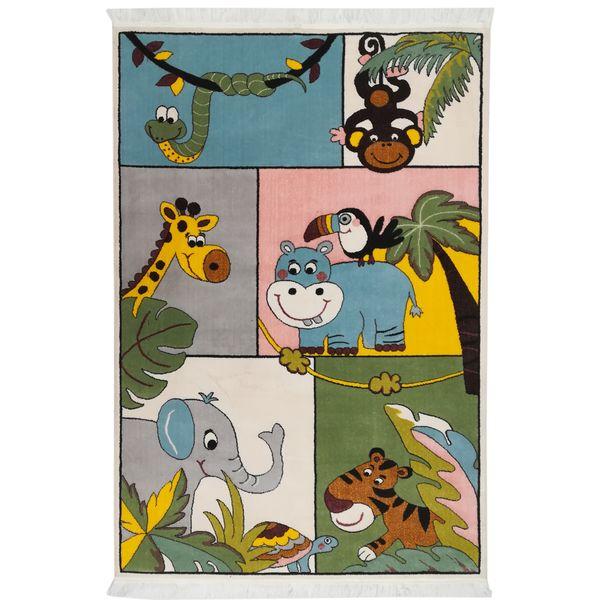 فرش ماشینی فرش مارکت تریتا طرح عروسکی حیوانات جنگل کد fm 400 3041