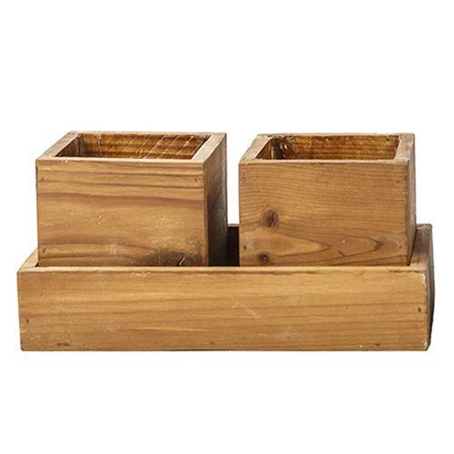 گلدان چوبی ترمه چوب مدل دو عددی