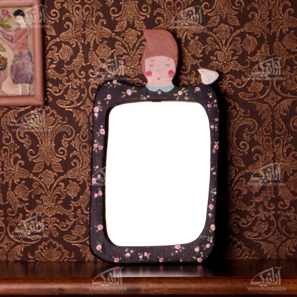 آینه چوبی رنگ آمیزی  رنگ بنفش طرح شازده کوچولو مدل 1509700002